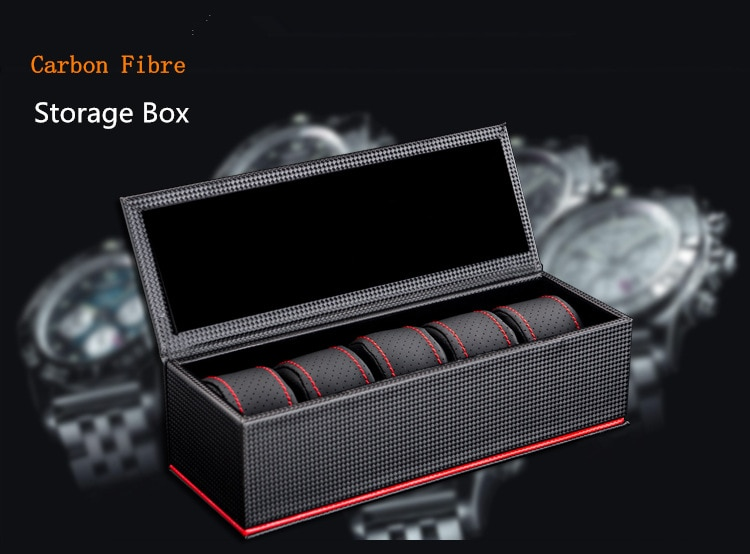 New 5 Slots Leather Watch Storage Box Case Black Carbon Fibre Watch Display Box Men's Mechanical Watch Gift Collection Case