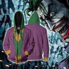 BIANYILONG 2018 nouveaux hommes à capuche Joker 3D sweats à capuche imprimés survêtement veste à capuche zippé à capuche hip hop hauts magasin dexpédition