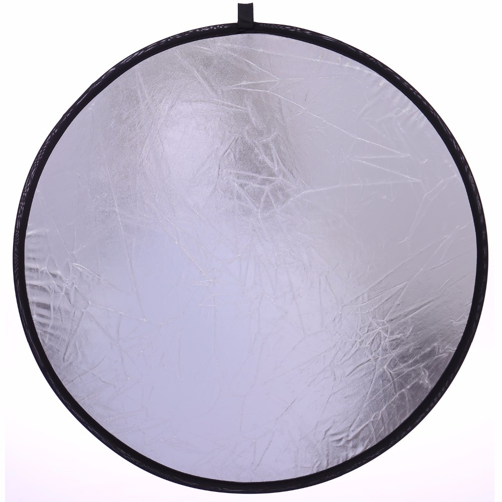 50CM/20'' 2 In 1 Portable Collapsible Round Light Reflector Silver White Disc Photography Reflector For Camera Light Reflector enlarge
