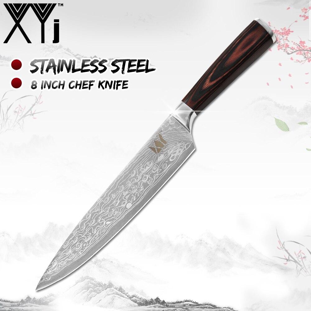¡Oferta! Cuchillo XYj de acero inoxidable con diseño de Damasco, Juego de cuchillos de cocina, cuchillo de acero inoxidable 7Cr17, utensilios de cocina con mango de madera de Color