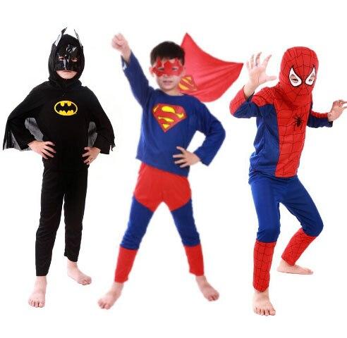 Детский костюм для Хэллоуина, 1 комплект, костюм Супермена, Бэтмена, Человека-паука, одежда для мальчиков и девочек с забавными героями, качественный карнавальный костюм