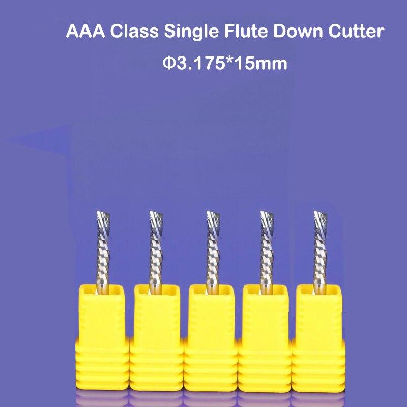 New 10 pcs/Lot 3.175* 15MM PCB Down-Cut Milling Cutter, Left Hand Bits, High Quality Carbide Endmills CNC Router Tools