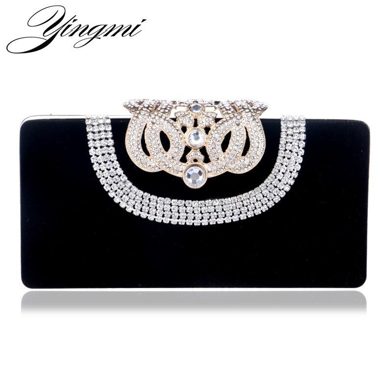 YINGMI Diamonds U Shaped Women Evening Bags Mini Crown Metal Crystal Evening Clutch Bag With Chain Shoulder Messenger Handbags