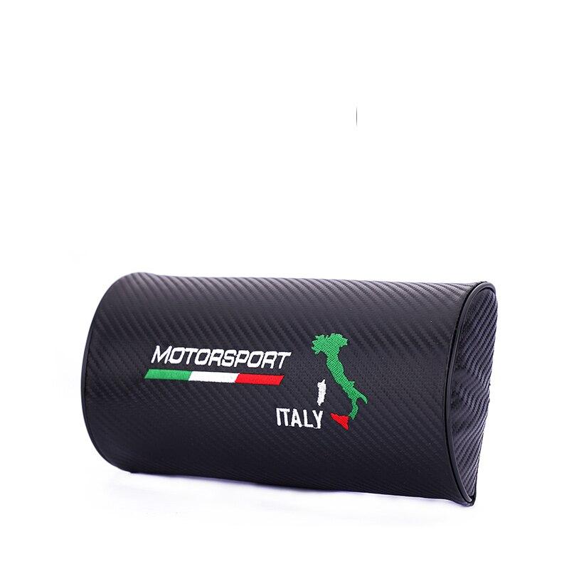 Embroidery for Italy style Car carbon fiber style headrest soft Neck Pillow for ferrari lamborghini Alfa Romeo accessories