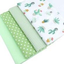 Syunss tissu en coton avec grille de Cactus   Vert, tissu de bricolage, Patchwork de tissus, jouet de bébé, couture de Telas, courtepointe