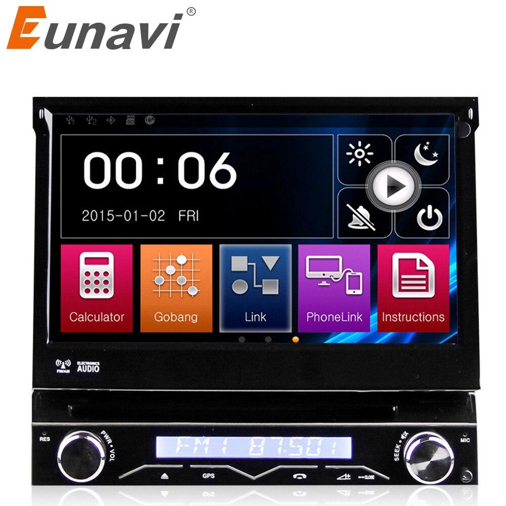 Eunavi solo 1 Din 7 coche reproductor Dvd autorradio GPS para coche de navegación para coche Universal con pantalla táctil estéreo automotriz