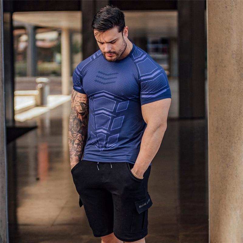Новая летняя быстросохнущая компрессионная Мужская футболка для фитнеса, облегающая футболка, Футбольная толстовка, спортивная одежда для спортзала, антистресс