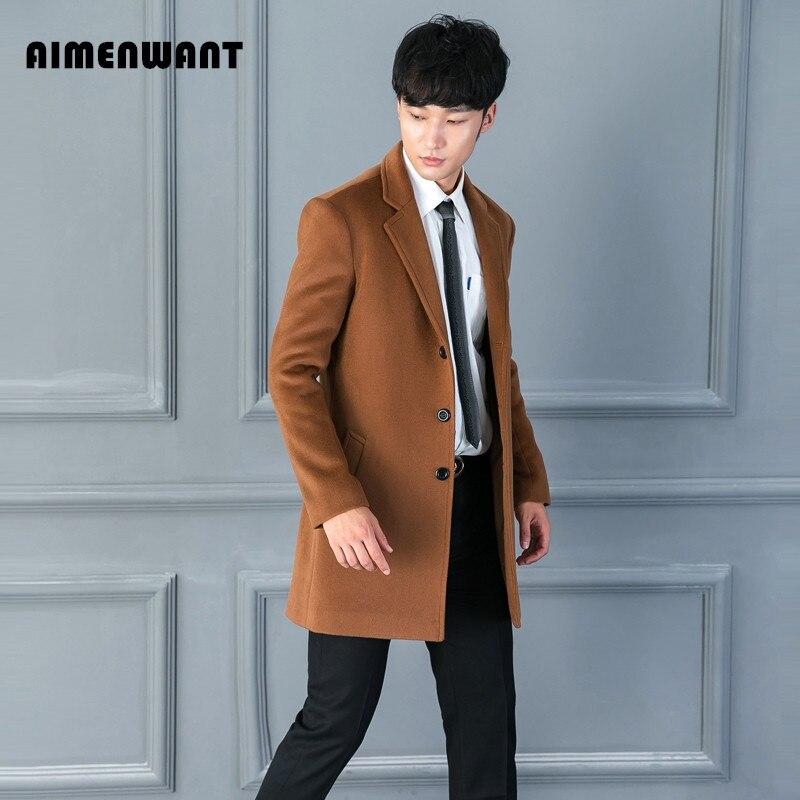 AIMENWANT-معطف من الصوف للرجال ، متوسط الطول ، صدر واحد ، معطف واق من المطر ، أزياء كورية ، بلوزة غير رسمية
