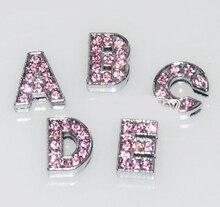 Prix de gros, 520 pièces A-Z lettres, 20 ensembles, 8mm A-Z rose clair strass glisser lettres glisser perles Fit 8mm bandes, blets
