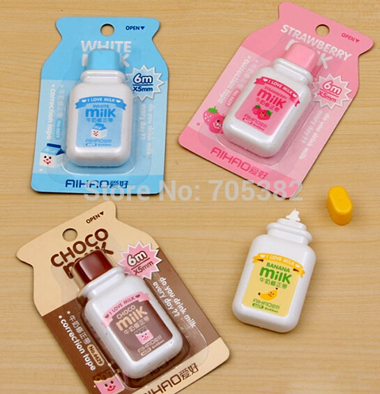 1 unidad/lote cinta correctora Kawaii con forma de botella de leche, bonito Paquete de cintas correctoras encantadoras (ss-8813)