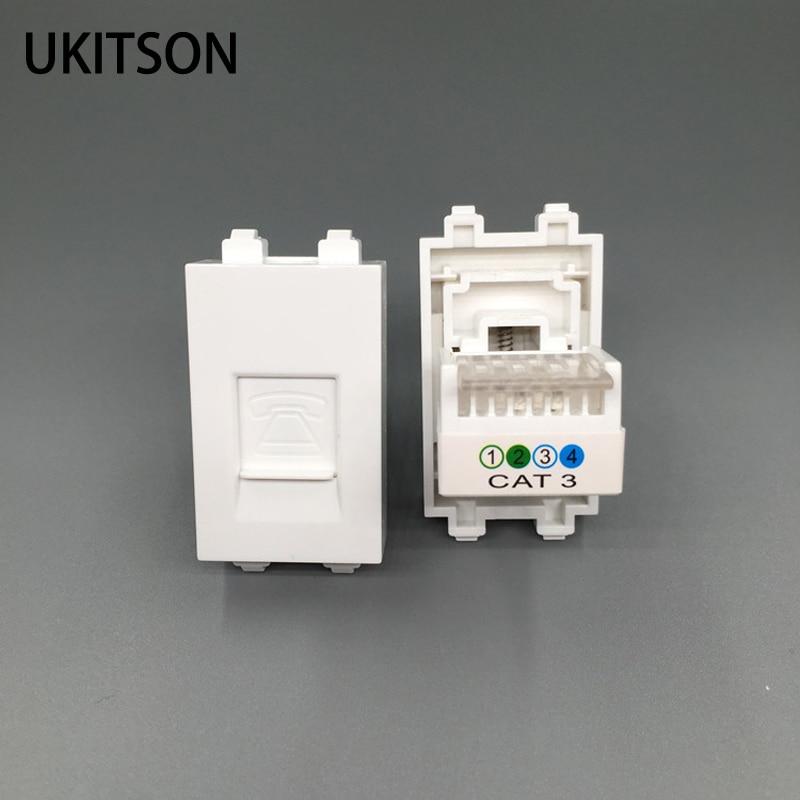 Cable de extrusión CAT3 módulos de teléfono RJ11 enchufe de teléfono de 23x36mm para marco de enchufe de pared