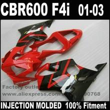 Kit de corps de carpette plastique moulé par INJECTION   Pour HONDA CBR 600 F4i 2001 2002 2003 rouge noir CBR600 01 02 03 TD57