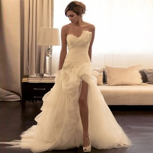 Organza Beading Sweetheart Wedding Dresses Off The Shoulder Sleeveless Sweep Train Bridal Gowns High Slit Vestido De Noiva
