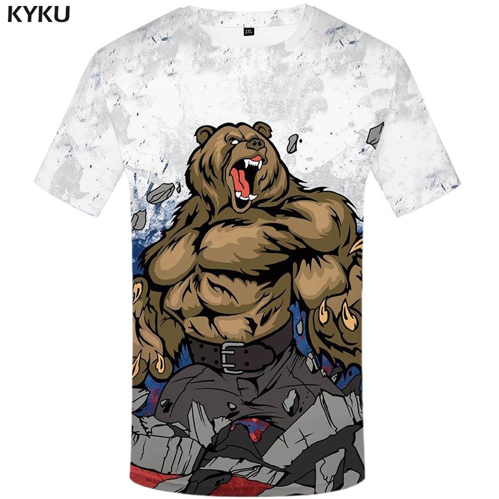 KYKU Russia T shirt Russian flag Top Tees Bear Tee Fitness Tshirts  Shirts Womens 3d Top Anime Fitness Japanese