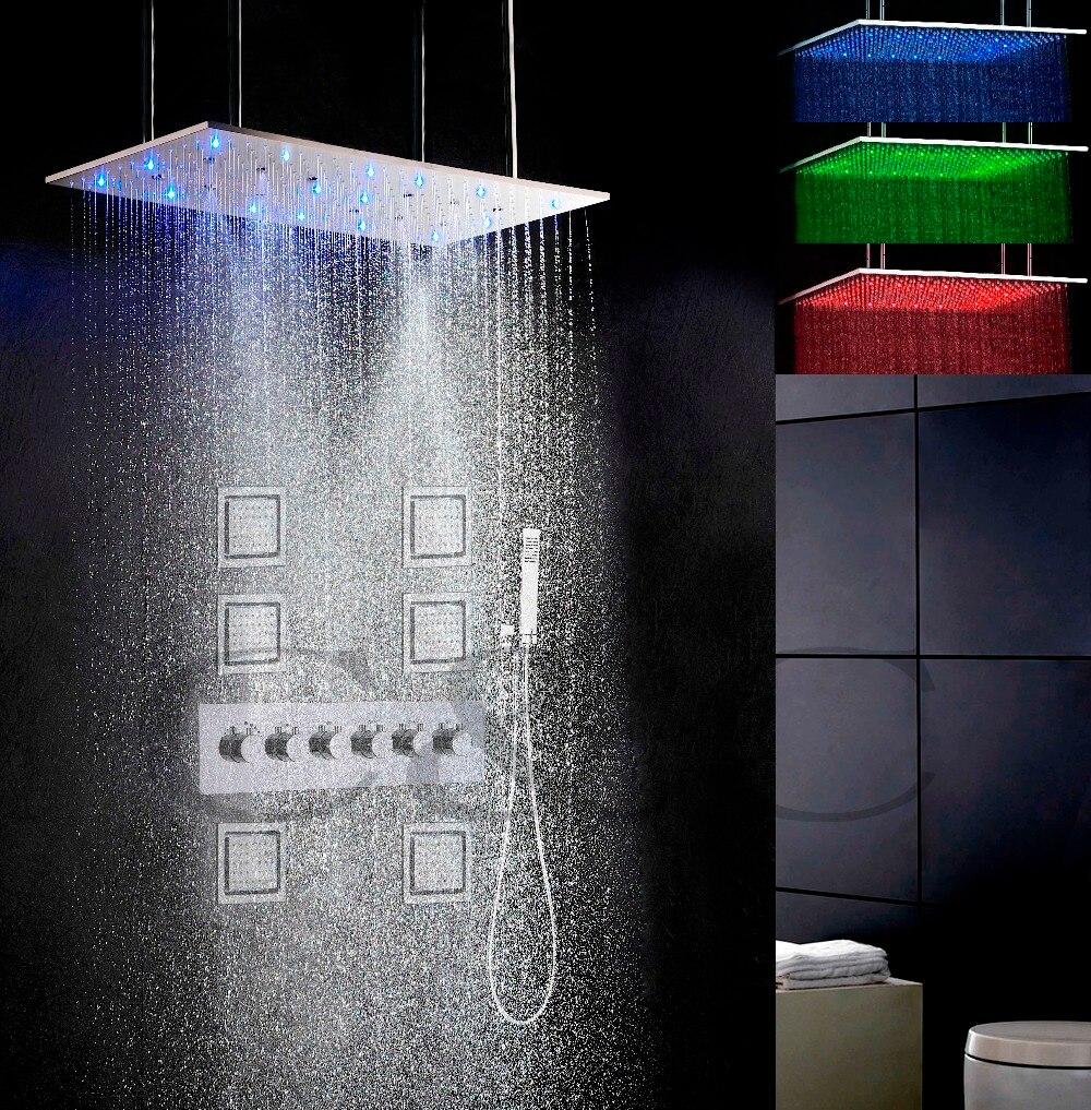 الحمام حمام والدش صنبور مجموعة 800X400mm التفتيت اختال والأمطار LED 3 اللون درجة الحرارة حساسة دش رئيس