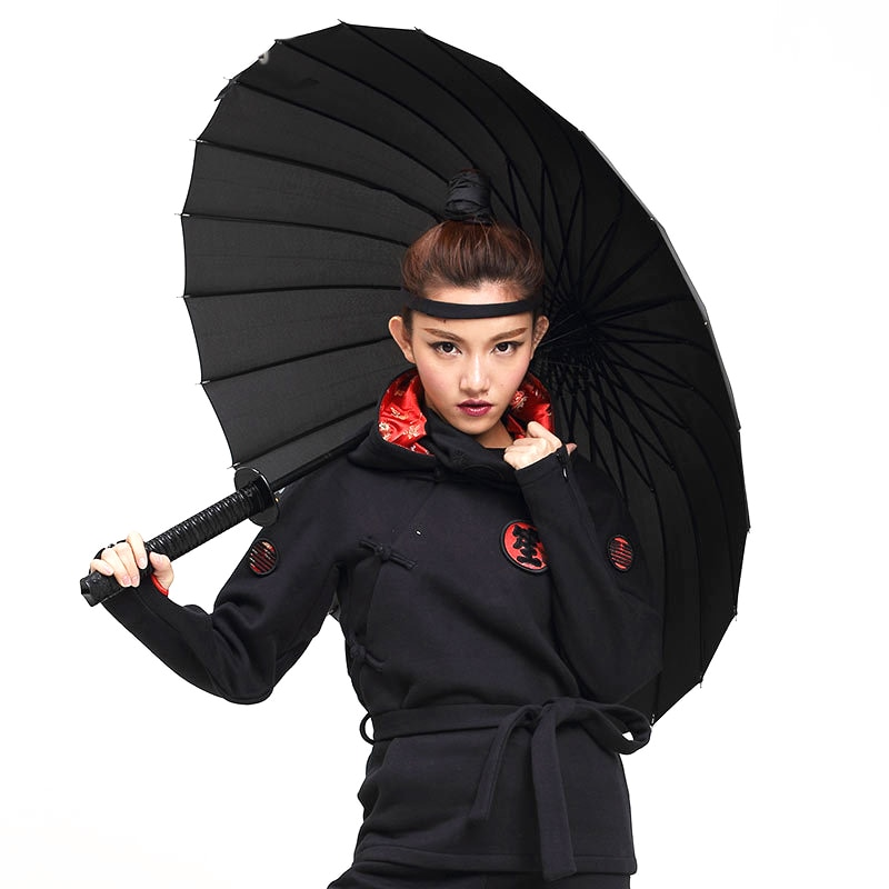 Creative Long Handle Samurai Sword Umbrella Japanese Ninja-like Large Windproof Sun Rain Straight Umbrella Auto Open For Man