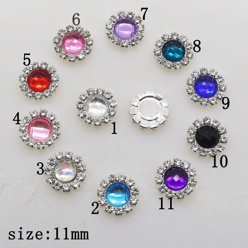 ¡Novedad! 10 Uds., 10mm, accesorios redondos de joyería Diy, diamantes de imitación, adornos de pedestal de acrílico, tapas, decoración de boda, mezcla de colores