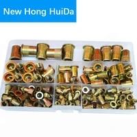 zinc plated rivet nut metric threaded insert rivetnut standard nutsert m3 m4 m5 m6 m8 m10 m12 assortment kit carbon steel150pcs