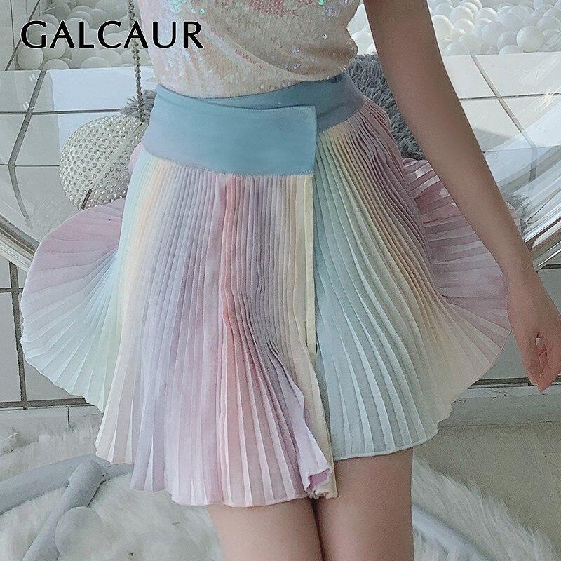 GALCAUR Verão Colorido Mini Saia Mulheres de Alta Cintura Fina Hit Cores Curto Plissada Saias Moda Feminina 2019 Roupas Doces