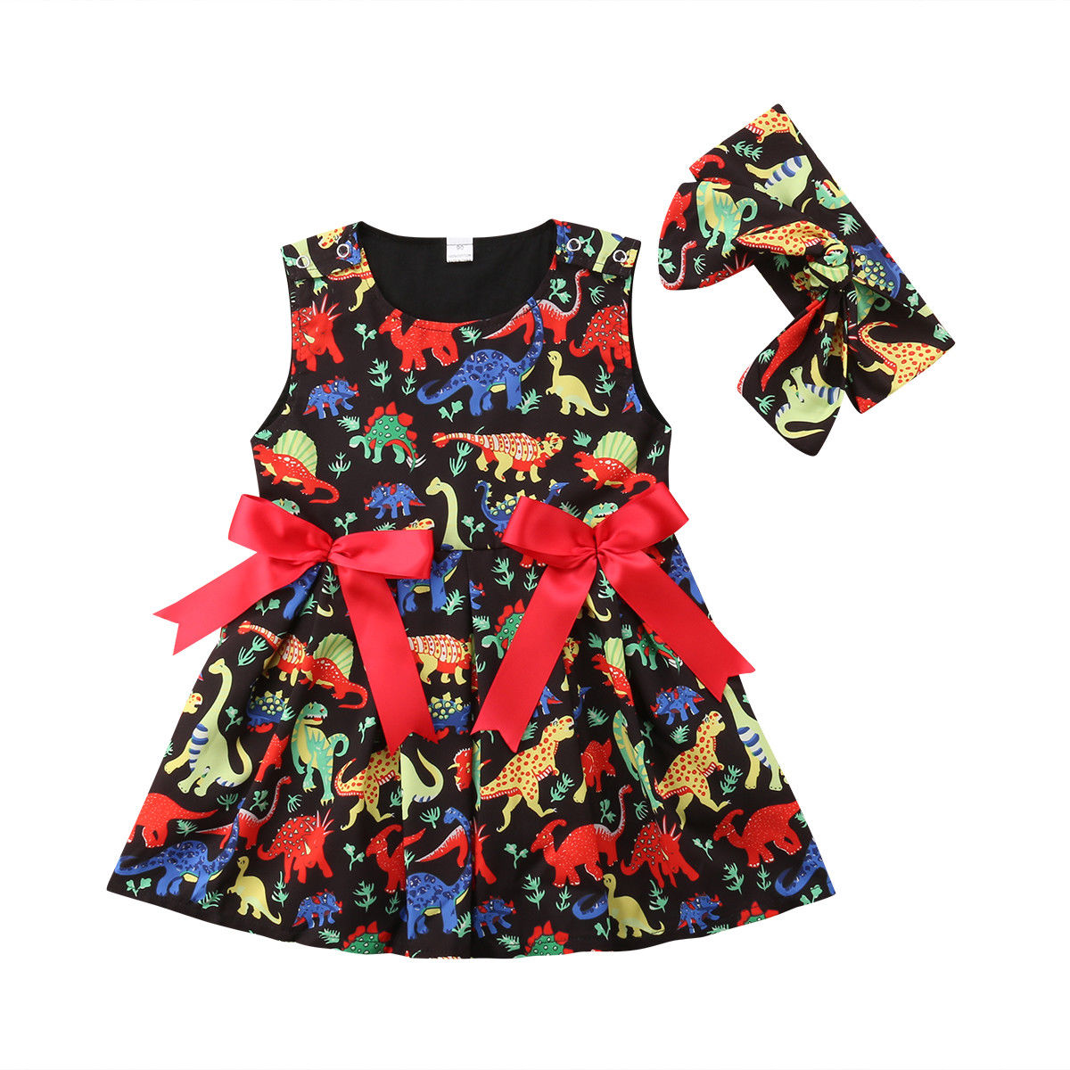 1-6 T bebé niña ropa dinosaurio vestido sin mangas bowknot Vestidos lindo animal estampado trajes niños meisjes jurk