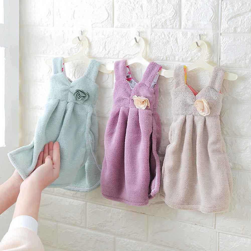 Precioso patrón en forma de vestido toalla de mano de terciopelo Coral superabsorbente baño toalla de mano para la cocina XH8Z JY17