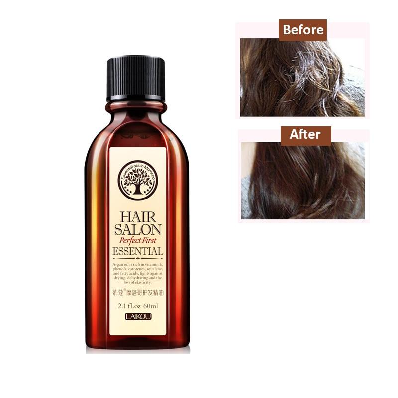 LAIKOU Brand 60ml Morocco argan oil Hair care Keratin Pure Glycerol Nut Oil Hair Mask Essential Moroccan Oil For Hair Treatment
