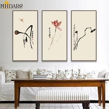 Lotus de lys deau de Style chinois   Affiches et imprimés délégance Zen par Qibaishi, toile, photos murales pour salon