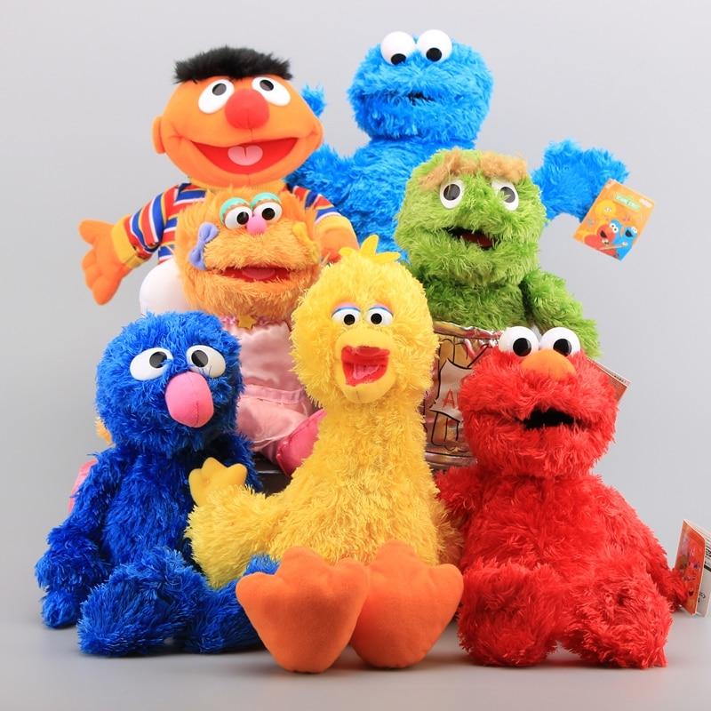 7 Characters Sesame Street Hand Puppet Plush Toys Elmo Cookie Monster Ernie Big Bird Grover Children Soft Stuffed Dolls 21-40 CM