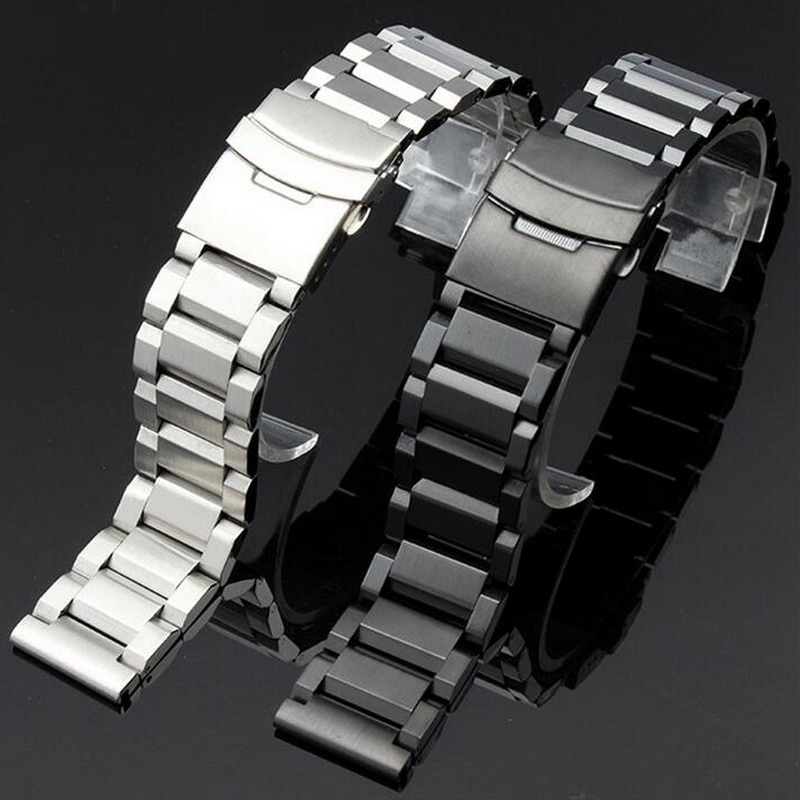 Купить с кэшбэком Stainless Steel Watch Band Watchband Wrist Strap For Samsung Gear S3 Wristband Bracelet Folding Clasp With Safety 22mm