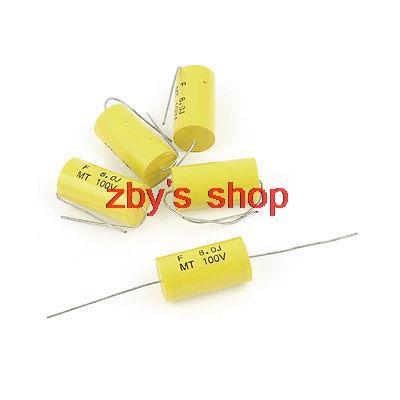 5 sztuk AC 100V 5uf 6uf 6.5uf 8uf pojemność 5% osiowy metalizowana folia kondensator żółty