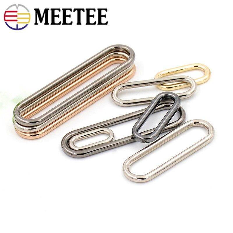 10 Uds Meetee 15mm-60mm O Ring sin fisuras ovaladas hebillas de Metal para zapatos bolso de anillo de equipaje Botón de huevo accesorios F1-86