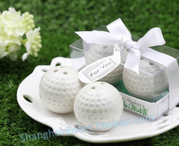 200 sztuk = 100 zestawów/partia małe hurtownie ceramiczne piłeczki do golfa sól i pieprz Shakers ślub sprzyja dla gości darmowa wysyłka