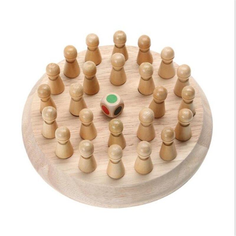 Juguetes de primera infancia, juego de ajedrez con memoria de madera para niños, rompecabezas educativo en 3D para niños, juguetes de Memoria de Color C