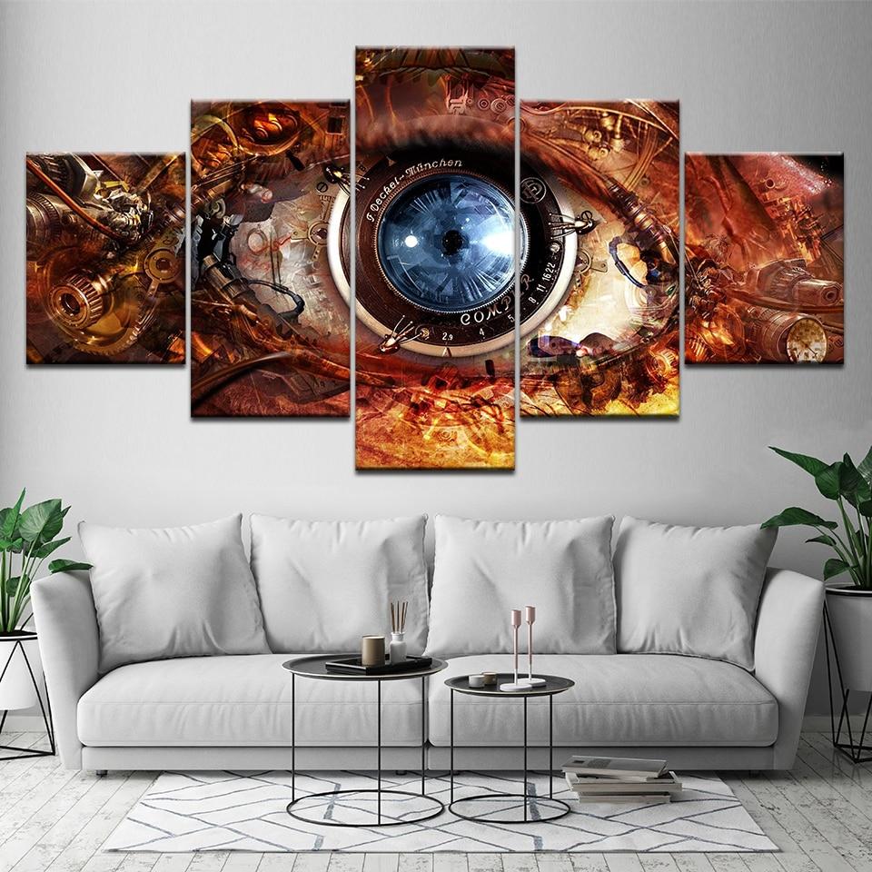 Cuadro de 5 paneles de decoración de pared moderna para el hogar para sala de estar, póster de ojos abstractos Steampunk, pintura impresa en lienzo Artwor