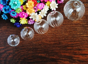 2016New 50pcs per lot 14-25mm choose pumpkin glass globe with3-4mm hole jewelry findings Glass bottle vial jewelry accessory