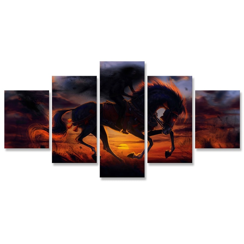 El caballo de la pared arte pintura 5 piezas carteles y huellas Modular foto pinturas decoración de la pared