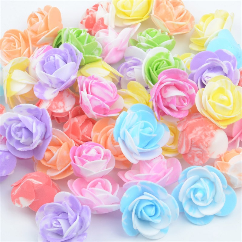 100PCS /bag mini multicolor PE foam rose head artificial rose flower handmade DIY wedding home decor