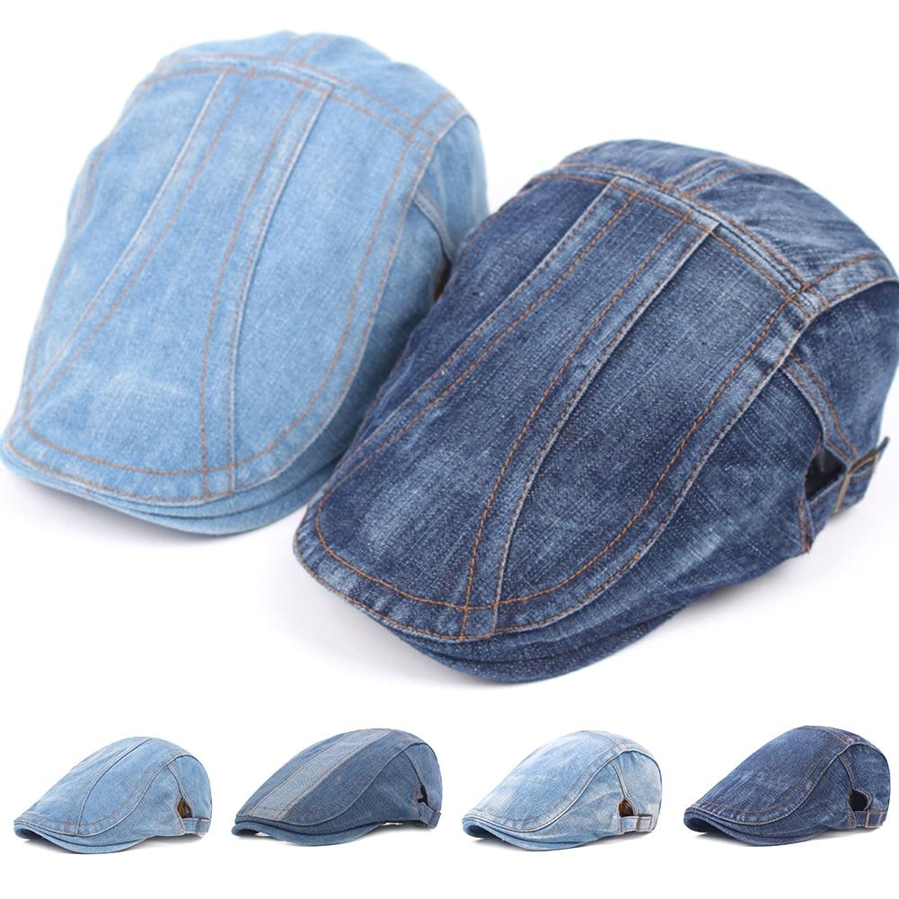 2020 Autumn Jeans Beret Hat for Men Women Casual Unisex Denim Beret Cap Fitted Sun Cabbie Flat Cap G