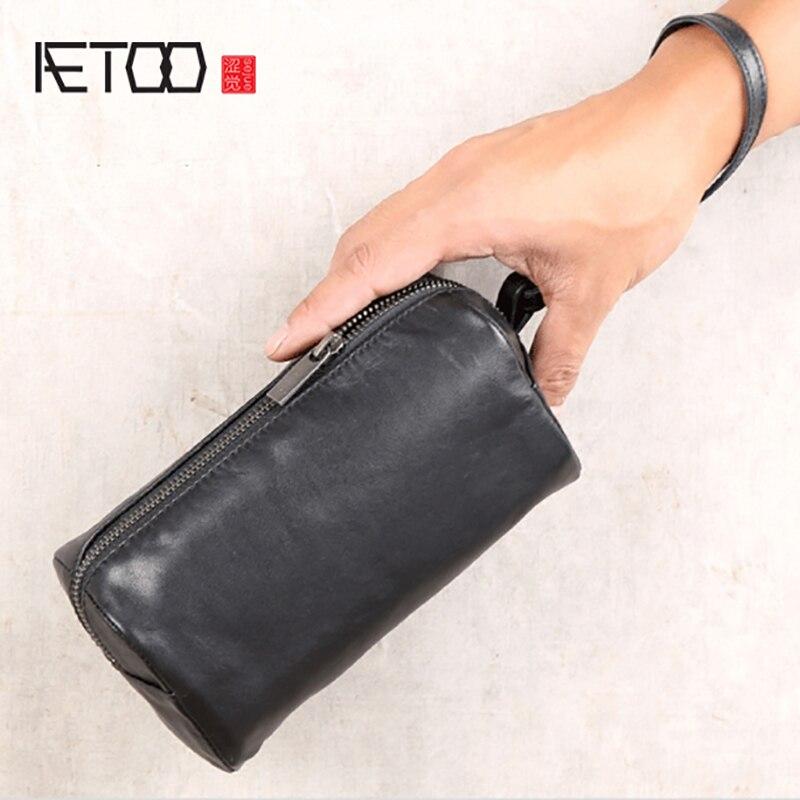 AETOO, bolsa de almacenamiento de mano para hombres, Baotou, bolsa de vaca, Bolso pequeño para mujer, Cartera horizontal de cuero