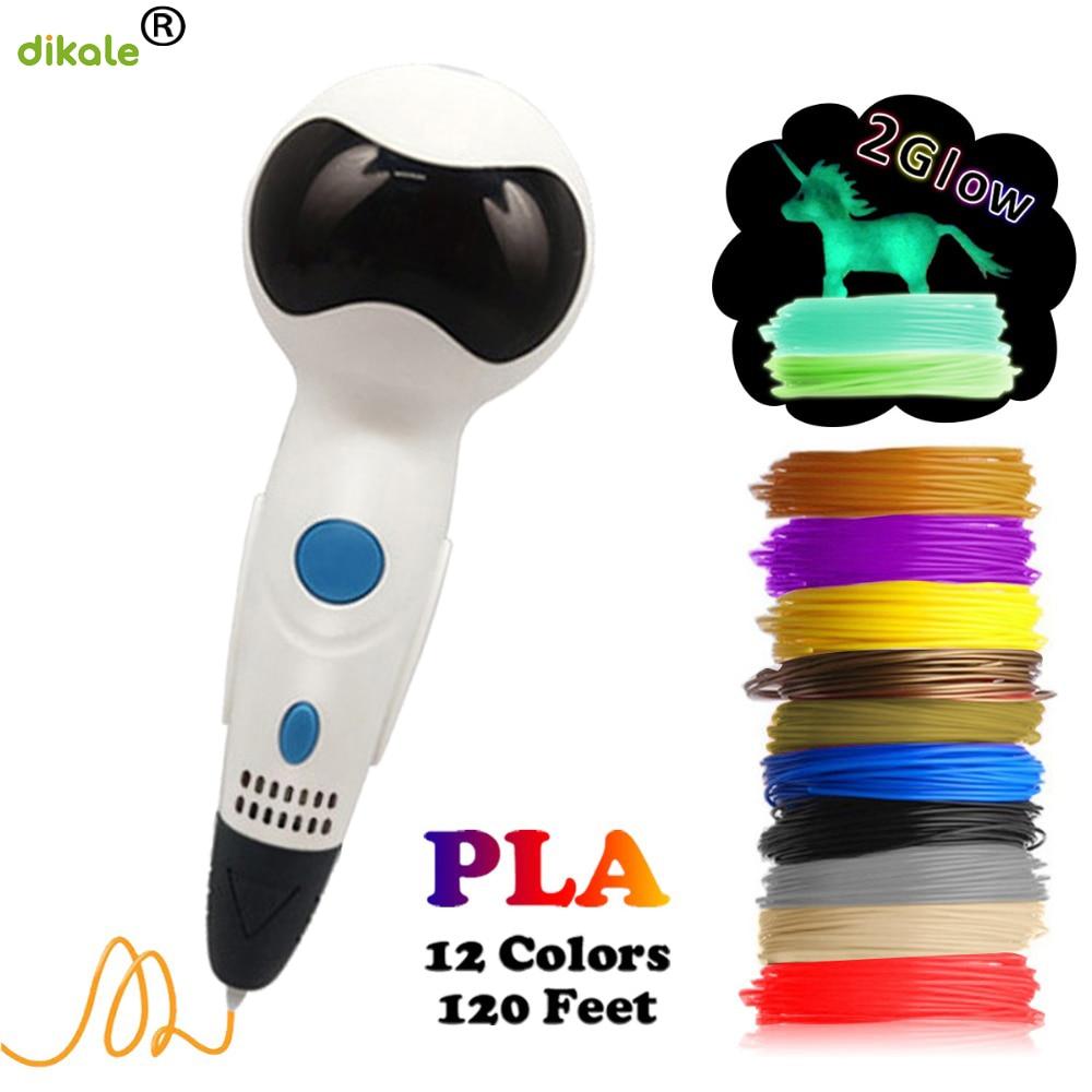 Dikale última interfaz USB robot 3d 1,75mm PLA pluma de impresión con función de reproducción de voz niños rompecabezas 3D pintura graffiti pluma