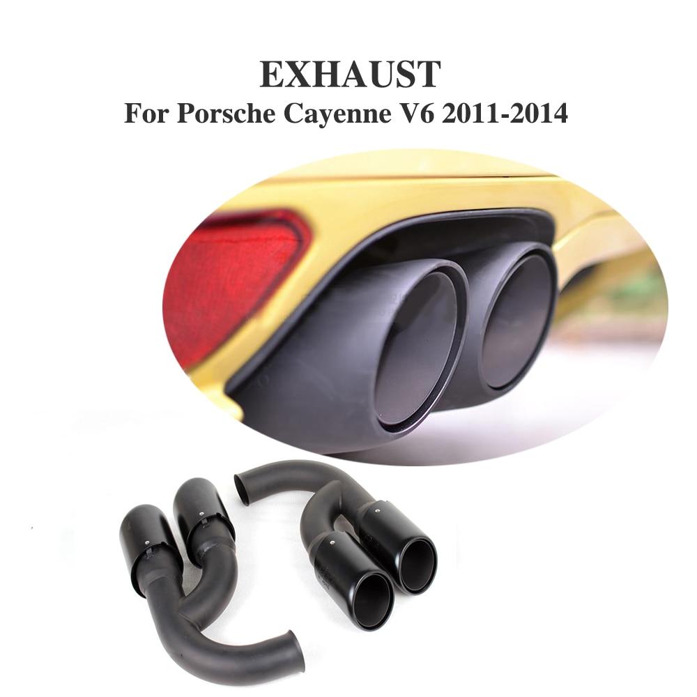 2PCS/Set Black Car Tail Muffler Pipe End Tips Fit for Porsche Cayenne V6 / V8 11-14 Stainless Steel