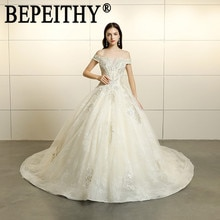 Bepeithy vestido de noiva 새로운 디자인 노벨 보트 넥 오프 어깨 appliques 레이스 구슬 tulle 볼 가운 웨딩 드레스 2019