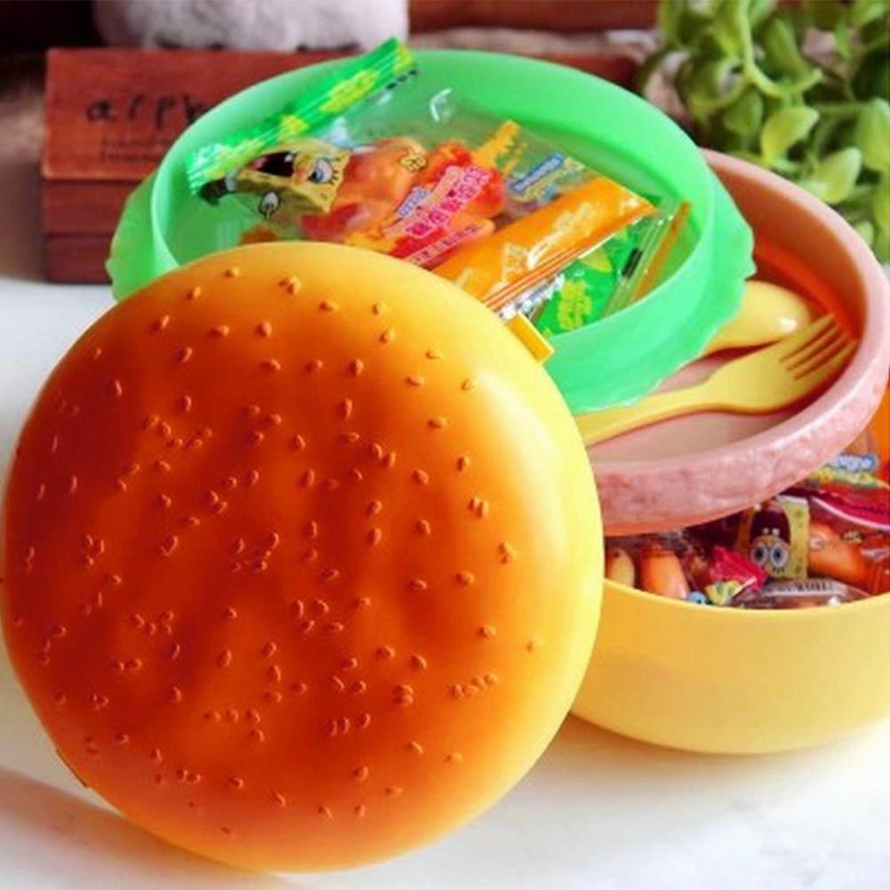 Eco-friendly 1000ml dupla camada crianças hamburger bento caixa almoço recipiente de armazenamento com garfo lancheira bento recipiente