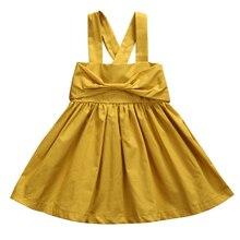 Robe de soleil froncée jaune uni   Tenue dété, joli tenue pour bébés filles et tout-petits, sans manches, avec sangle, avec nœud, nouvelle collection 2018