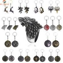 HOT Game of Thrones porte-clés ensemble maison Stark tête de loup série porte-clés haute qualité Targaryen Dragon alliage pendentif hommes bijoux
