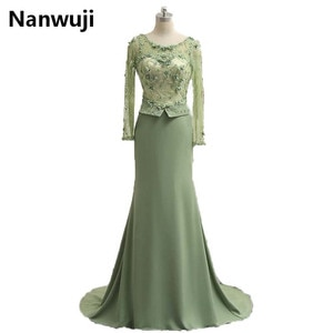 In Stock Real Photos Long Sleeve Muslim Evening Dress High Neck Sexy Back long Mermaid  Formal Dress