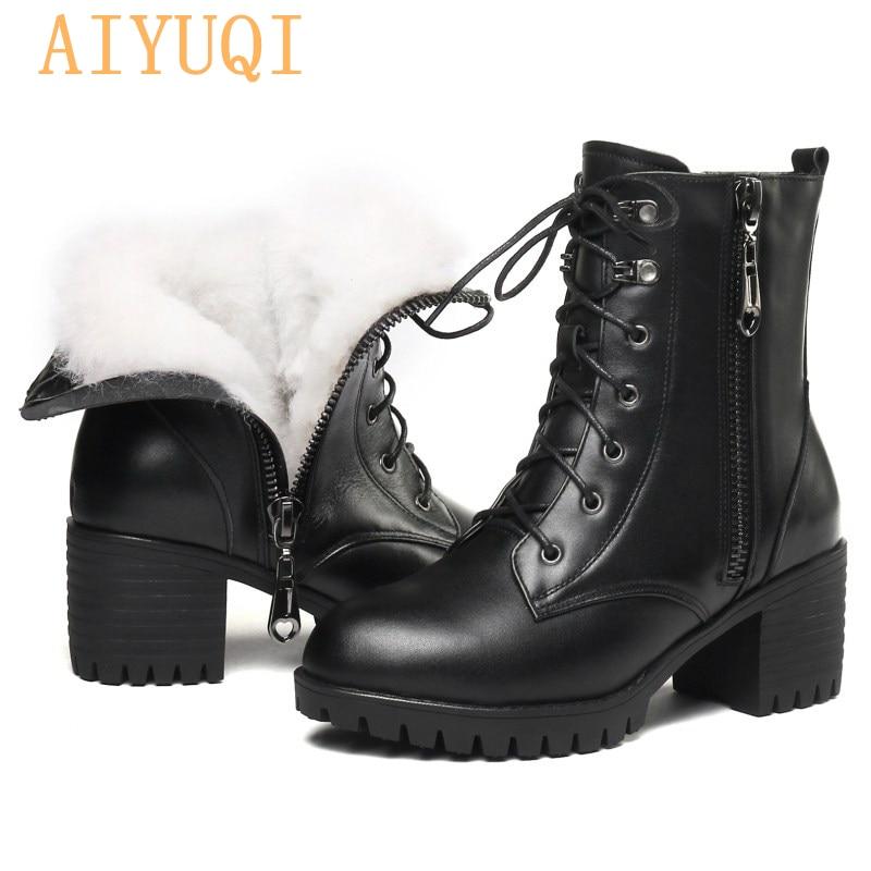 AIYUQI 2021 genuine leather high heel women snow boots big size 41 42 43 wool warm female winter boo