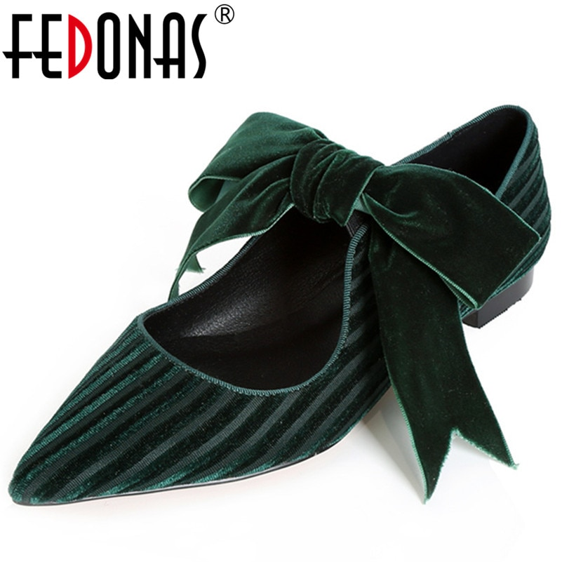 FEDONAS Fashion Women Retro Luxury Velvet Bowtie Party Wedding Shoes Woman Sexy Pointed Toe New Mary Jane Pumps Quality Pumps