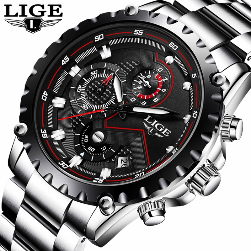 Часы наручные LIGE Мужские кварцевые, модные спортивные брендовые Роскошные полностью стальные деловые водонепроницаемые