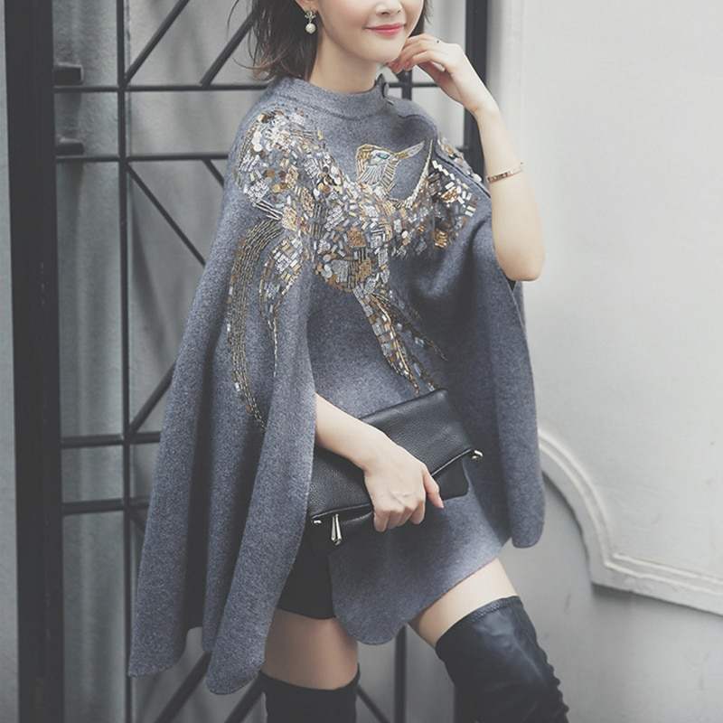 Pullover Wool Real Pull Sale Women Sweater New Autumn And Winter In The Long Section Of Sequins Shawl Coat Fall Thick Shawls enlarge